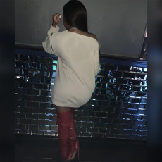 Plus Size Graffiti Print Casual Sweatshirt Dress DAI-8280