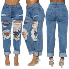 Plus Size Fashion Casual Washed Straight Ripped Hole High Waisted Jeans LX-5115