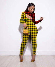 Plus Size Plaid Patchwork Long Sleeve Jumpsuits LLF-8816