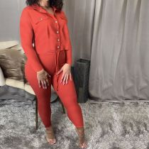 Casual Solid Long Sleeve Two Piece Pants Set SMF-8044