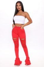 Plus Size Solid Color Ruffle Hollow Out Ripped Hole Jeans LX-5002