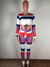 Fashion Long Sleeve Stripe Print Two Piece Set OSM-4316