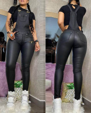 Fashion Sexy PU Suspender Slim Fit Jumpsuit NY-2044