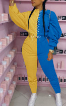 Fashion Contrast Color Patchwork Lace-Up Two Piece Set MA-384