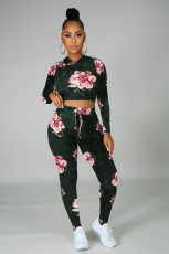 Fashion Casual Printed Long Sleeve Hooded Two Piece Set KYF-3005