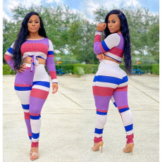 Fashion Casual Color Stripe Printing Long Sleeve Two Piece Set KYF-3028