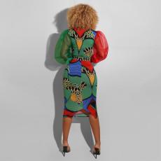 Sexy Printed Puff Sleeve Patchwork Midi Dress CYA-8567