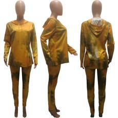 Plus Size 4XL Tie-dye Hooded Casual Two Piece Set KYF-3023