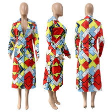 Plus Size Colorful Geometric Plaid Suit Collar Long Coat GLF-8056