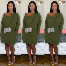 Solid V Neck Loose Knitted Sweater Dress NY-057