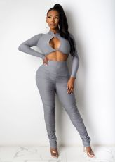 Sexy Solid Color Long Sleeve Hollow Out Top And Ruched Pants Two Piece Set YLF-8049