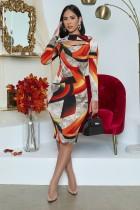 Plus Size Sexy Printed Long Sleeve Midi Dress OM-1172