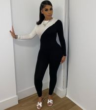 Plus Size Fashion Sexy White Black Long Sleeve Skinny Jumpsuits WAF-7087