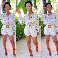 Printed Casual Lace Up Long Sleeve Romper (Without Belt) SH-3898