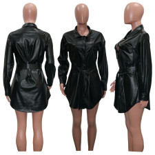 Fashion Sexy Solid Color Pu Leather Trench Coat SH-3896