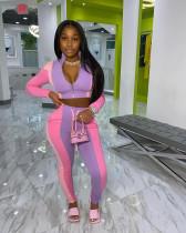 Plus Size Fashion Splice Sports Casual Trousers Two Piece Set WAF-7091