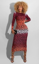 Plus Size Sexy Print Long Sleeve Maxi Dress YIY-5222