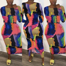 Plus Size Fashion Tie-dye Print Long Sleeve Dress YFS-3588