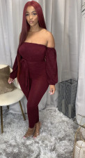 Plus Size Solid Slash Neck Long Sleeve Sashes Jumpsuits YM-9251