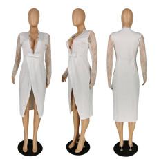 Sexy Deep V Neck Lace Patchwork Midi Dress PIN-8506