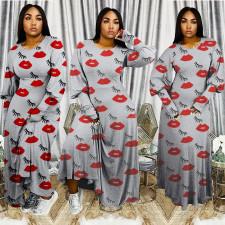 Casual Lip Print Long Sleeve Maxi Dress BDF-8019