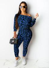 Fashion Leopard Print Long Sleeve Jumpsuit DSF-6043