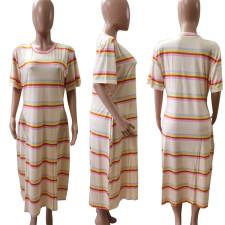 Plus Size 5XL Casual Striped Short Sleeve T Shirt Dress BDF-8016