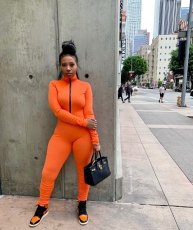 Solid Rib Zipper Long Sleeve Stacked Jumpsuits WSM-5200