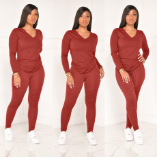 Solid V Neck Long Sleeve Casual Two Piece Sets OD-8389