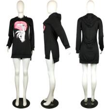 Plus Size Fashion Lip Print Sweatshirt Hooded Dress QYF-0501