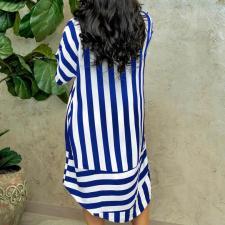 Casual Striped Long Sleeve Shirts Dress QYF-0321