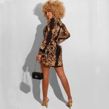 Fashion Print Long Sleeve Shirt Dress QYF-0324