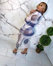 Plus Size Sexy Mesh Dollar Print Long Sleeve Dress QYF-0504