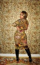 Sexy Leopard Print Long Sleeve Slim Midi Dress CHY-1263