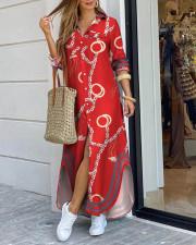 Plus Size 4XL Fashion Sexy Print Shirt Long Dress QYF-0507