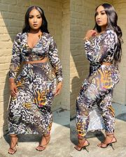 Plus Size 4XL Printed Long Sleeve Culottes Pants 2 Piece Sets SMD-9002