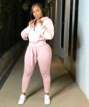 Plus Size Solid Color Sports Hooded Two Piece Set QYF-5012