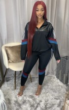 Plus Size Patchwork Sports Long Sleeve Casual Two Piece Set QYF-5015