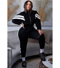 Plus Size 4XL Casual Patchwork Zipper Jumpsuits SMD-9001