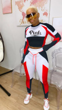 Pink Letter Print Fitness Long Sleeve Two Pants Set FNN-8539