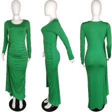 Sexy Solid Color Long Sleeve Slim Maxi Dress QYF-0509