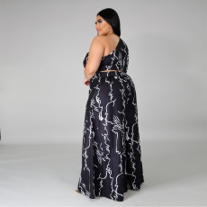 Plus Size 4XL Sexy Printed One Shoulder Wide Leg 2 Piece Sets YD-8299