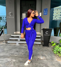 Solid V Neck Long Sleeve Two Piece Pants Set TR-1080