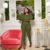 Solid Ruched Sleeve Two Piece Pants Set FSL-116