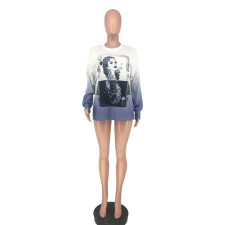 Poker Print Long Sleeve Loose Top NLF-8002