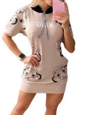 Casual Print Hooded Short Sleeve T Shirt Dress TCF-023