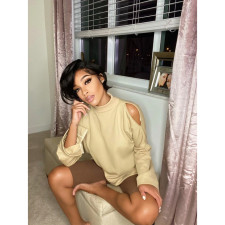 Solid Off Shoulder Long Sleeve O Neck Sweatshirt AWF-5813