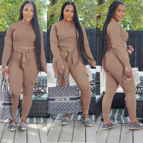 Solid Long Sleeve Sashes Panrts Two Piece Sets GLF-8049