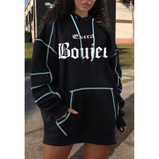 Casual Loose Printed Hoodies Dress AWF-5816