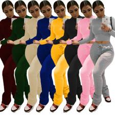 Plus Size Solid Plush Sweatshirt Stacked Pants 2 Piece Set DAI-8286